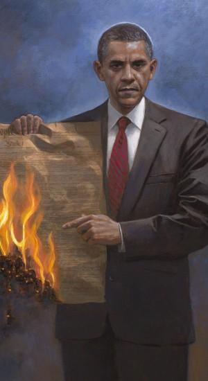 Obama burns Constitution