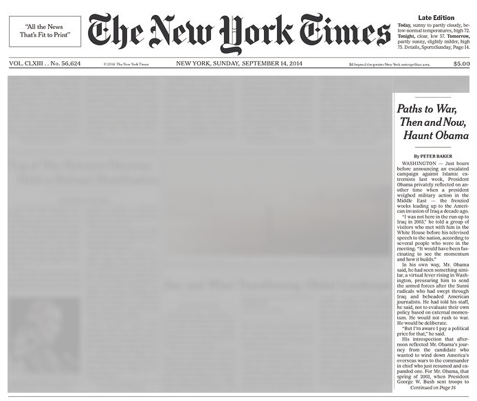 New York Times 14 September 2014