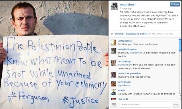 Reggie Brown Palestinian peeps