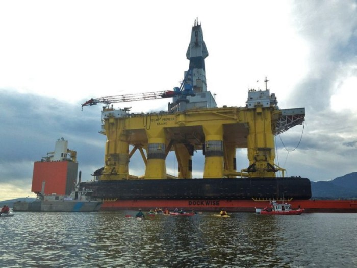 Shell's Polar Pioneer drill rig docked in Port Angeles aboard Dockwise's Blue Marlin.